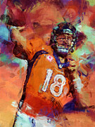 Broncos Digital Art Posters - Peyton Manning Abstract 4 Poster by David G Paul