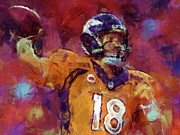 Pro Football Digital Art Prints - Peyton Manning Abstract 5 Print by David G Paul