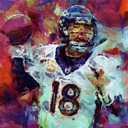 Pro Football Digital Art Prints - Peyton Manning Abstract 6 Print by David G Paul