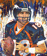 Denver Broncos Paintings - Peyton Manning Broncos by Jeff Gomez