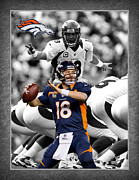 Denver Broncos Framed Prints - Peyton Manning Broncos Framed Print by Joe Hamilton