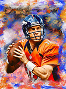 Broncos Mixed Media Framed Prints - Peyton Manning Framed Print by Dwayne  Graham