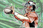 Quarterback Drawings - Peyton Manning II by Jerrett Dornbusch