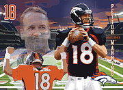 Denver Broncos Digital Art Prints - Peyton Manning Print by Israel Torres