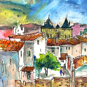 Town Square Drawings Prints - Pezens 04 Print by Miki De Goodaboom
