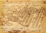 Old Map Paintings - Pezolts unfinished Map of Minneapolis 1891 by MotionAge Art and Design - Ahmet Asar