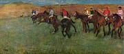 Horse And Riders Prints - Pferderennen vor dem Start Print by Edgar Degas