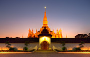 Buddhism Metal Prints - Pha That Luang stupa in Laos Metal Print by Fototrav Print