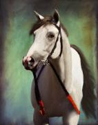 Jockey Paintings - Phantom Lover Race Horce before the race by Angela Stanton