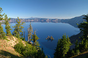 Crater Lake Posters - Phantom Ship Island In Crater Lake Poster by Brian Harig