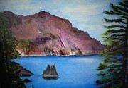 Crater Lake Paintings - Phantom Ship Island by Penny Ross