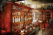 Shelf Framed Prints - Pharmacist - Behind the scenes  Framed Print by Mike Savad