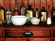 Medicine Bottle Framed Prints - Pharmacist - Cabinet With Mortar and Pestles Framed Print by Susan Savad