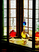 Drug Stores Prints - Pharmacist - Colorful Bottles in Drug Store Window Print by Susan Savad