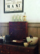 Drug Store Posters - Pharmacist - Desk With Mortar and Pestles Poster by Susan Savad