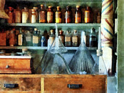 Pharmacist - Glass Funnels And Barber Pole Print by Susan Savad