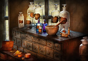 Drawers Metal Prints - Pharmacist - Medicinal Equipment  Metal Print by Mike Savad