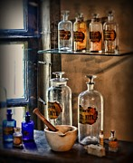 Glass Bottles Prints - Pharmacist - medicine bottles Print by Paul Ward