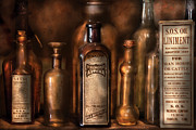 Antique Bottles Framed Prints - Pharmacist - Medicine for Asthma and Pain  Framed Print by Mike Savad