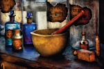 Glass Bottle Metal Prints - Pharmacist - Mortar and Pestle Metal Print by Mike Savad