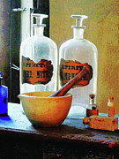 Susan Savad Prints - Pharmacist - Mortar and Pestle With Bottles Print by Susan Savad