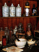 Drug Stores Photos - Pharmacist - Mortar and Pestles in Drug Store by Susan Savad
