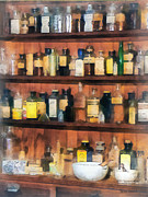 Drug Stores Prints - Pharmacist - Mortar Pestles and Medicine Bottles Print by Susan Savad