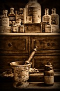 Chest Framed Prints - Pharmacist  Old Medicine in Black and White Framed Print by Paul Ward
