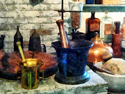 Drug Stores Photos - Pharmacist - Three Mortar and Pestles by Susan Savad