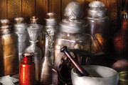 Glass Bottle Photos - Pharmacist - Tools of the Pharmacist  by Mike Savad