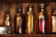 Glass Bottle Photos - Pharmacist - Various Elixirs  by Mike Savad