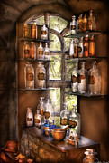 Old Glass Prints - Pharmacist - Various Potions Print by Mike Savad