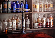 Bottles Prints - Pharmacy - Apothecarius  Print by Mike Savad