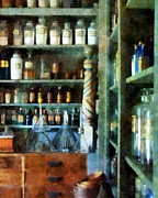 Syrups Prints - Pharmacy - Back Room of Drug Store Print by Susan Savad