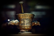 Chest Prints - Pharmacy Brass Mortar and Pestle with Eagle Handles Print by Paul Ward
