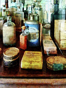 Designs By Susan Prints - Pharmacy - Cough Remedies and Tooth Powder Print by Susan Savad