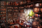 Potions Framed Prints - Pharmacy - Equipment - Merlins Study Framed Print by Mike Savad