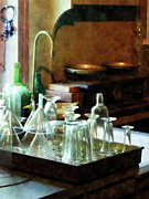 Laboratories Prints - Pharmacy - Glass Funnels and Bottles Print by Susan Savad