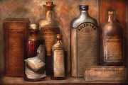 Shelf Framed Prints - Pharmacy - Indigestion Remedies Framed Print by Mike Savad