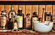 Glass Bottles Prints - Pharmacy - Mixing Bowl Print by Paul Ward