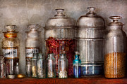 Jars Prints - Pharmacy - Mysterious pebbles powders and liquids Print by Mike Savad