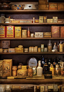 Shelf Metal Prints - Pharmacy - Quick I need a miracle cure Metal Print by Mike Savad