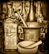 Tonic Framed Prints - Pharmacy - Snake Oil -  Black and White Framed Print by Paul Ward