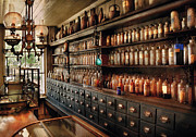 Vintage Lamp Framed Prints - Pharmacy - So many drawers and bottles Framed Print by Mike Savad