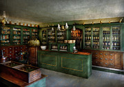 Green Door Prints - Pharmacy - The Chemist Shop  Print by Mike Savad
