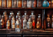 Bottles Posters - Pharmacy - The Chemistry Set Poster by Mike Savad