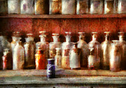 Bottles Posters - Pharmacy - The Medicine Counter Poster by Mike Savad