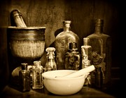 Medicine Art - Pharmacy - Tools of the Pharmacist - black and white by Paul Ward