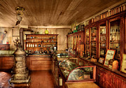 Cabinet Prints - Pharmacy - Turn of the Century Pharmacy Print by Mike Savad