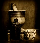 Medicine Bottle Posters - Pharmacy - wood mortar and pestle - black and white Poster by Paul Ward